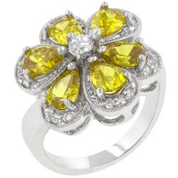 Kate Bissett Silvertone, Yellow, and Clear Cubic Zirconia Cocktail Ring for Women