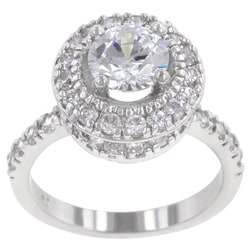 Kate Bissett High-Polish Silvertone Clear Cubic Zirconia Engagement-Style Ring