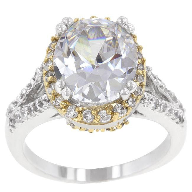 Kate Bissett Two-tone Clear Cubic Zirconia Fashion Ring