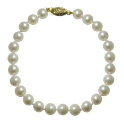 Pearls for You 14k Yellow Gold White Cultured Akoya Pearl Bracelet (6.5-7 mm)