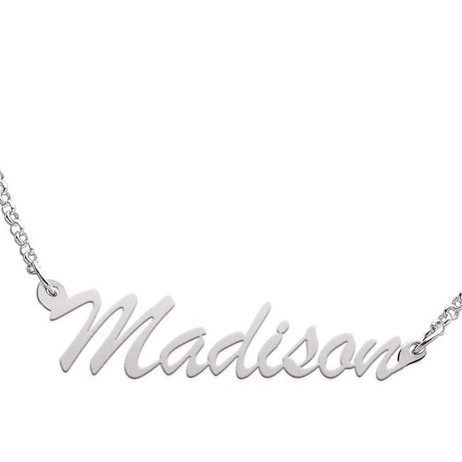 Sterling Silver Madison Script Name Necklace