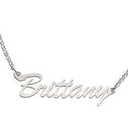 Sterling Silver 'Brittany' Script Name Necklace