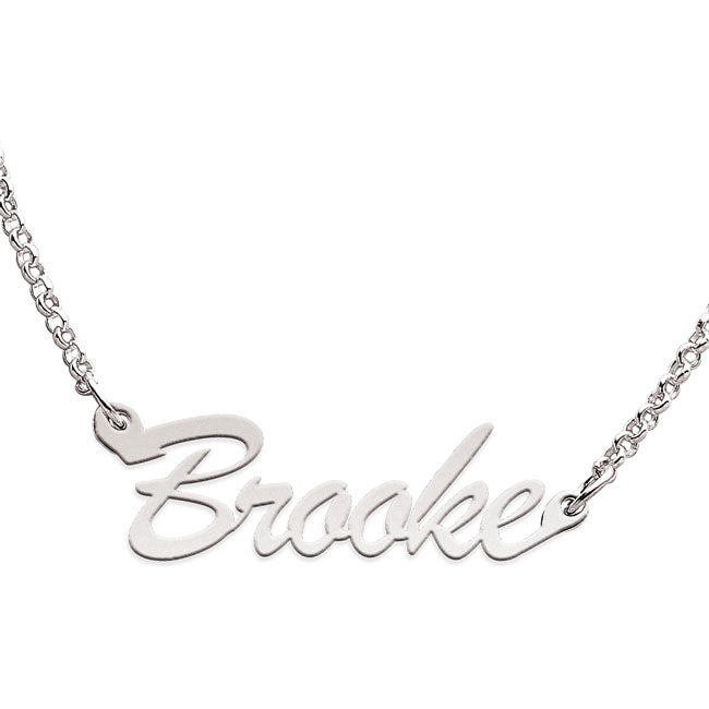 Sterling Silver 'Brooke' Script Name Necklace