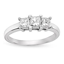 Miadora 14k White Gold 1ct TDW Princess Diamond 3-stone Ring (H-I, I1)