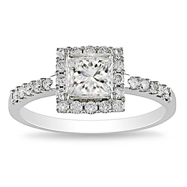 Miadora 14k White Gold 1 3/8ct TDW Diamond Halo Engagement Ring (H-I, I1-I2)