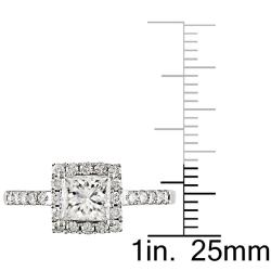 Miadora 14k White Gold 1 3/8ct TDW Diamond Halo Engagement Ring (H-I, I1-I2)