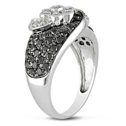 Miadora 14k White Gold 1 1/5ct TDW Black and White Diamond Ring (H-I, I1-I2)