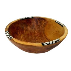 Olive Wood and Inlaid Bone 7-inch Bowl (Kenya)