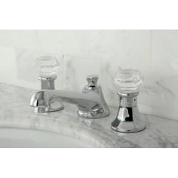 Crystal Handle Chrome Widespread Bathroom Faucet