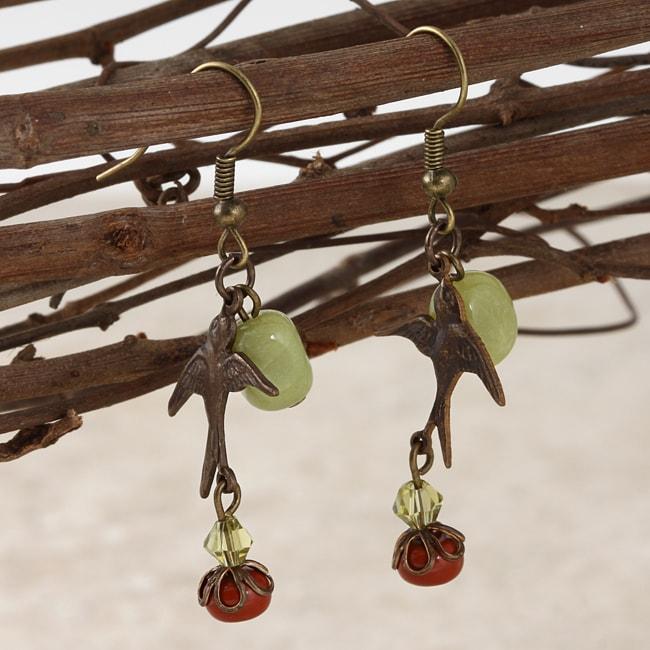 Classic Brass Soaring Sparrow Jade and Jasper Vintage Earrings