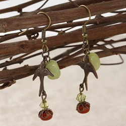 Classic Brass Soaring Sparrow Jade and Jasper Vintage Earrings