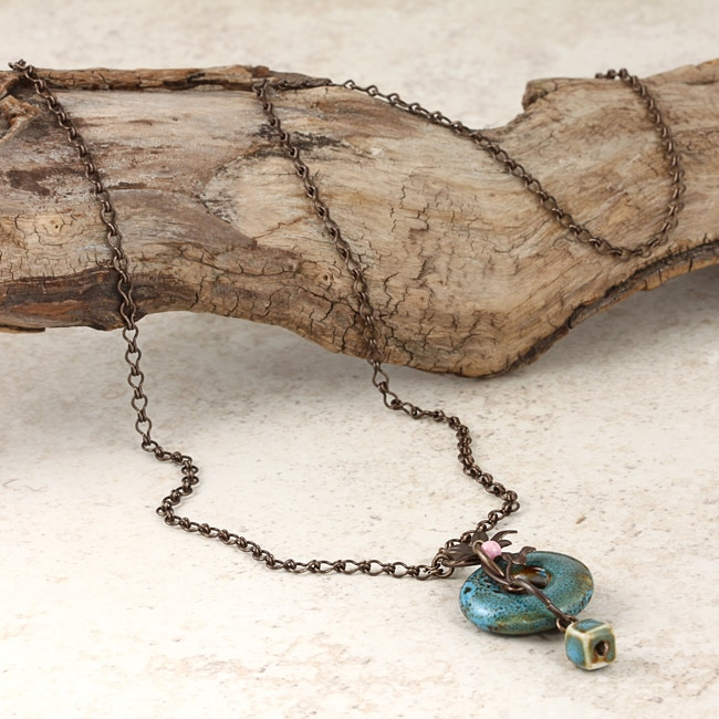 Classic Brass Moody Blue Riverstone Vintage Necklace