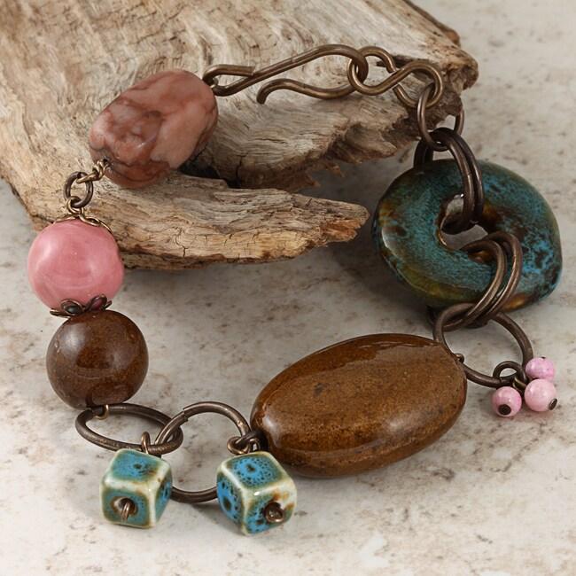 Brass Moody Blue Riverstone Vintage Bracelet