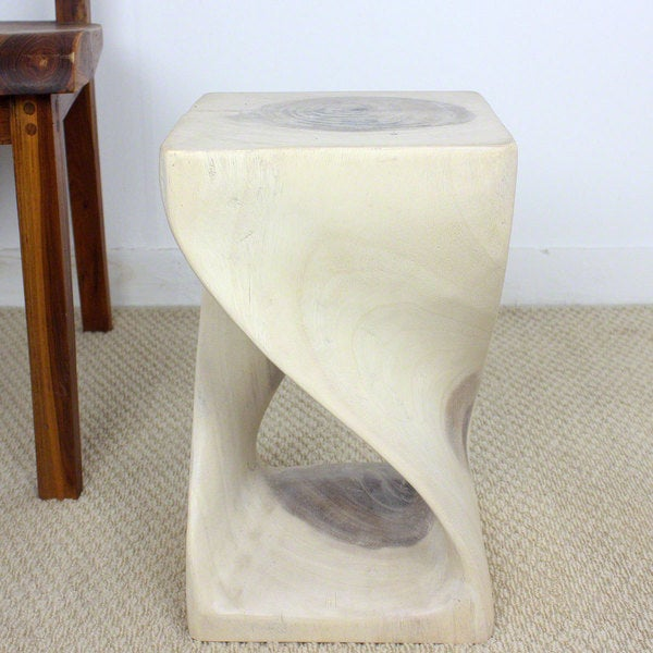 10 Inches Square x 16-inch Monkey Pod Wood 16-inch White Oil Twist End Table (Thailand)