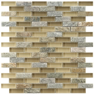 Somertile Reflections Subway Suffolk Stone and Glass Mosaic Tiles (Pack of 10)