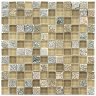 Somertile Reflections Square Suffolk Stone and Glass Mosaic Tiles (Pack of 10)