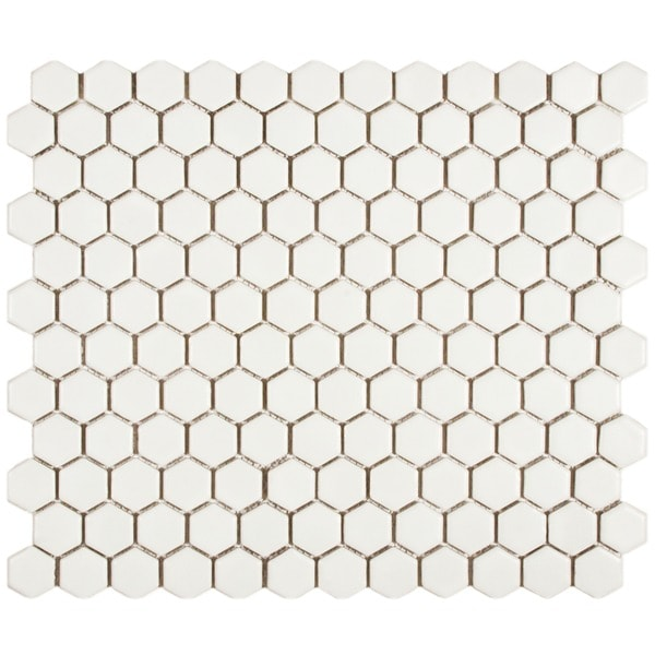 Somertile Victorian Hex Matte White Porcelain Mosaic Tiles (Pack of 10)