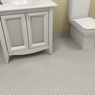 SomerTile 10.25x11.75-inch Victorian Hex Matte White Porcelain Mosaic Floor and Wall Tile (10 tiles/8.56 sqft.)