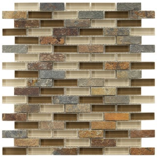 Somertile Reflections Subway Brixton Stone and Glass Mosaic Tiles (Pack of 10)