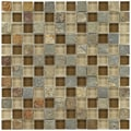 Somertile Reflections Square 1-inch Brixton Stone and Glass Mosaic Tiles (Pack of 10)