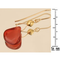 Gold 14k Fill 'Cranberry Cuteness' Glass Earrings