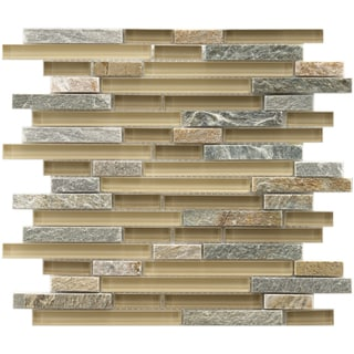 Somertile Reflections Piano Suffolk Stone and Glass Mosaic Tiles (Pack of 5)