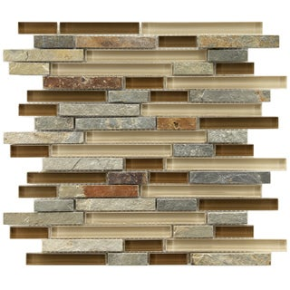 Somertile Reflections Piano Brixton Stone and Glass Mosaic Tiles (Pack of 5)