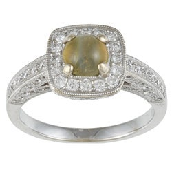 18k Gold Cat's Eye Chrysoberyl and 1ct TDW Diamond Estate Ring (H-I, SI1-SI2)