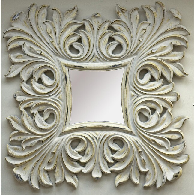Traditional Antique White Mirror