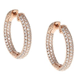 Rose Goldplated Cubic Zirconia Hoop Earrings with Clip-In Clasp