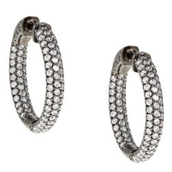 Sterling Silver Black Rhodiumplated Cubic Zirconia Hoop Earrings