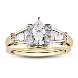 14k Yellow Gold 3/4ct TDW Marquise Cut Diamond Bridal Set (F-G, I1-I2)