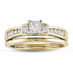 Miadora 14k Yellow Gold 3/4ct TDW Diamond Bridal Ring Set (E-F, SI1-SI2)