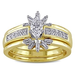 Miadora 14k Yellow Gold 1/2ct TDW Diamond Bridal Ring Set (E-F, I1-I2)