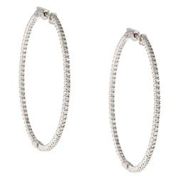 Rhodium-plated Sterling Silver Cubic Zirconia Hoop Earrings