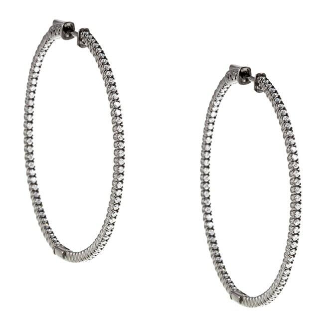 Black Rhodium-plated Silver Cubic Zirconia Hoop Earrings