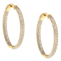Gold over Silver Pave Cubic Zirconia Hoop Earrings