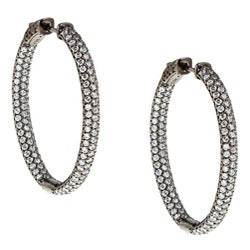 Black Rhodium-plated Sterling Silver Pave Cubic Zirconia Hoop Earrings
