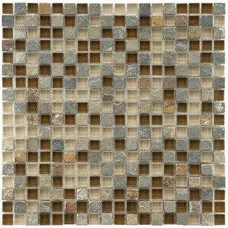 Somertile Reflections Mini-Brixton Stone and Glass Mosaic Tiles (Pack of 10)
