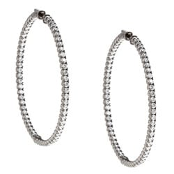 Black Rhodium-plated Sterling Silver Cubic Zirconia Hoop Earrings