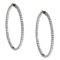 Black Rhodium-plated Sterling Silver Cubic Zirconia Hoop Earrings