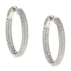 White Rhodium Silver Oval Pave Cubic Zirconia Hoop Earrings