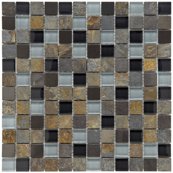 Somertile Basilica 1-inch Alloy Charcoal Stone and Glass Mosaic Tiles (Pack of 10)