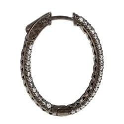 Black Rhodium Silver Oval Pave Cubic Zirconia Hoop Earrings