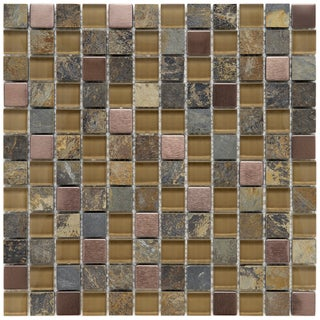 Somertile Basilica 1-inch Alloy Copper Stone and Glass Mosaic Tiles (Pack of 10)