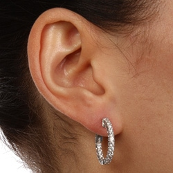 White Rhodium-plated Silver Cubic Zirconia Hoop Earrings