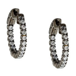 Black Rhodium Silver Cubic Zirconia Hoop Earrings