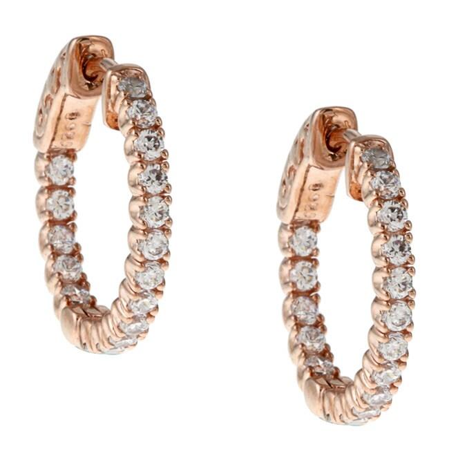 Rose Gold over Silver Cubic Zirconia Hoop Earrings