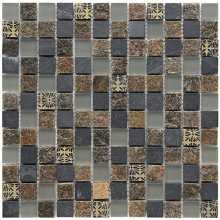 Somertile Granstone Fauna 1-inch Rosa Stone and Glass Mosaic Tiles (Pack of 10)