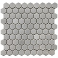 Somertile Chromium Steel Hex 1.25-inch Metal Over Ceramic Mosaic Tiles (Pack of 10)